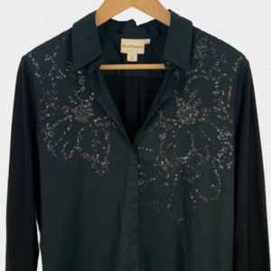 PURE DKNY  black sequin long sleeve collared shirt
